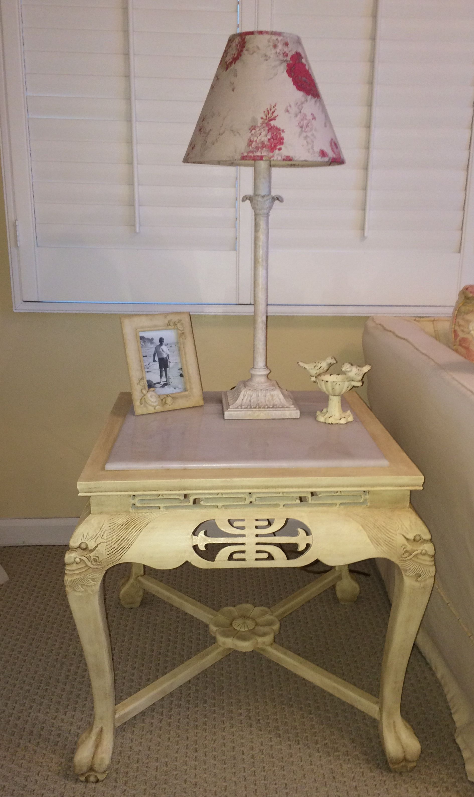 Annie Sloan Chalk Paint Cream Light And Dark Wax Fun Funky Asian Table With White Marble Top Fou Annie Sloan Chalk Paint Cream Asian Design Light In The Dark