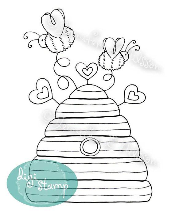 Digital Stamp - Bee Hive - digistamp on Etsy, $3.00