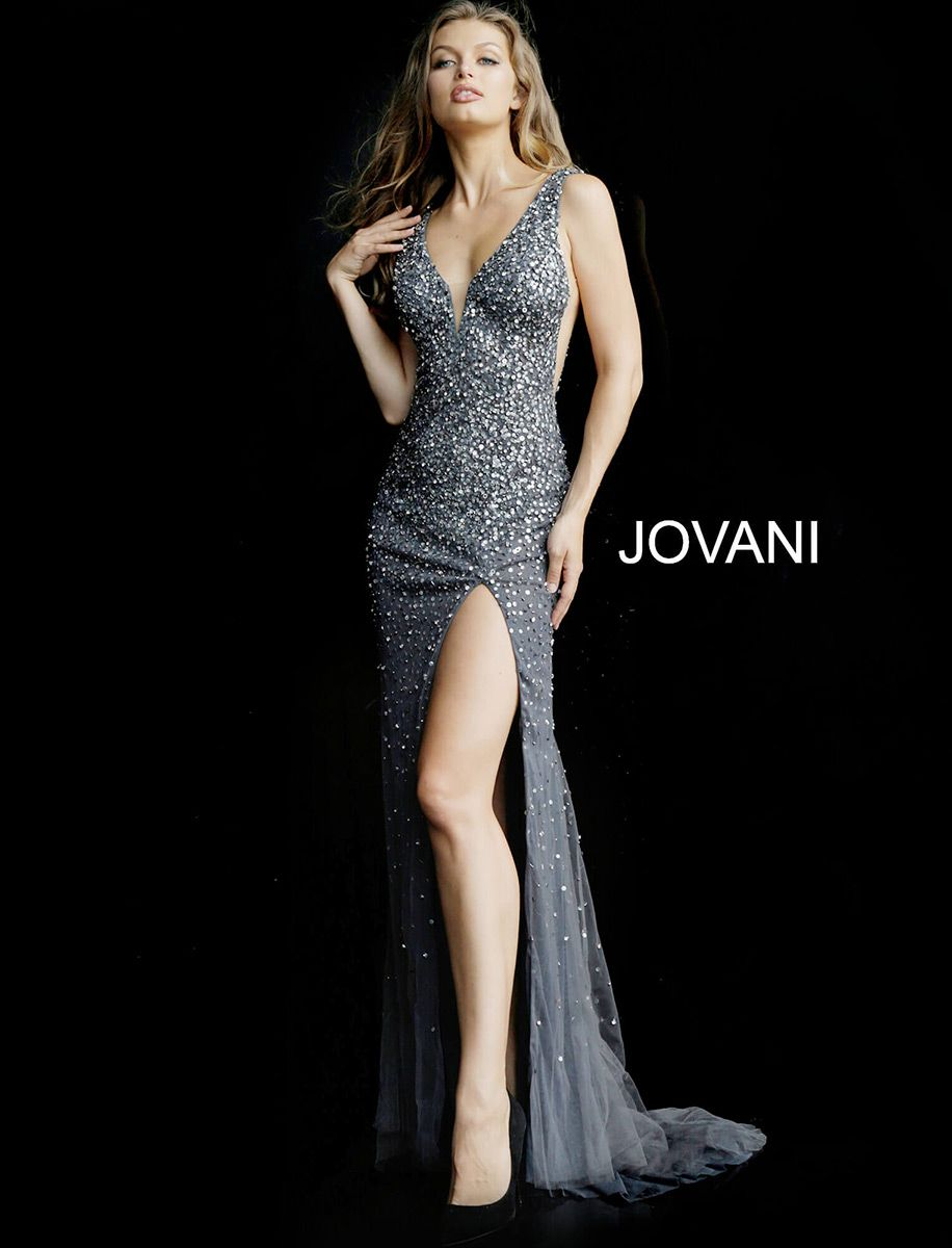 f3cfadf6763 Style 58505 from Jovani is a sleeveless Embellished High Slit Fitted Prom  Gown with a deep V neck