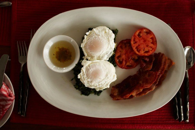 """The """"Pantrepant"""" breakfast at the Bizot Bar includes traditional Jamaican callaloo with poached eggs."""