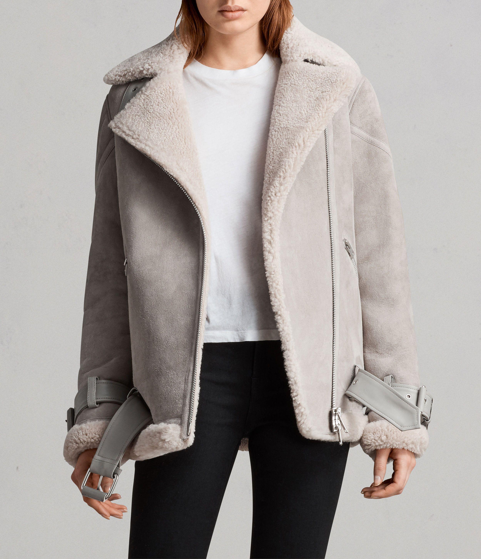 Hawley Oversized Shearling Biker Jacket Leather jackets