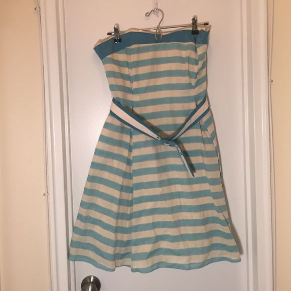 Striped dress Only worn once. Sweetheart neckline, belt with loops. Laundry Dresses Strapless
