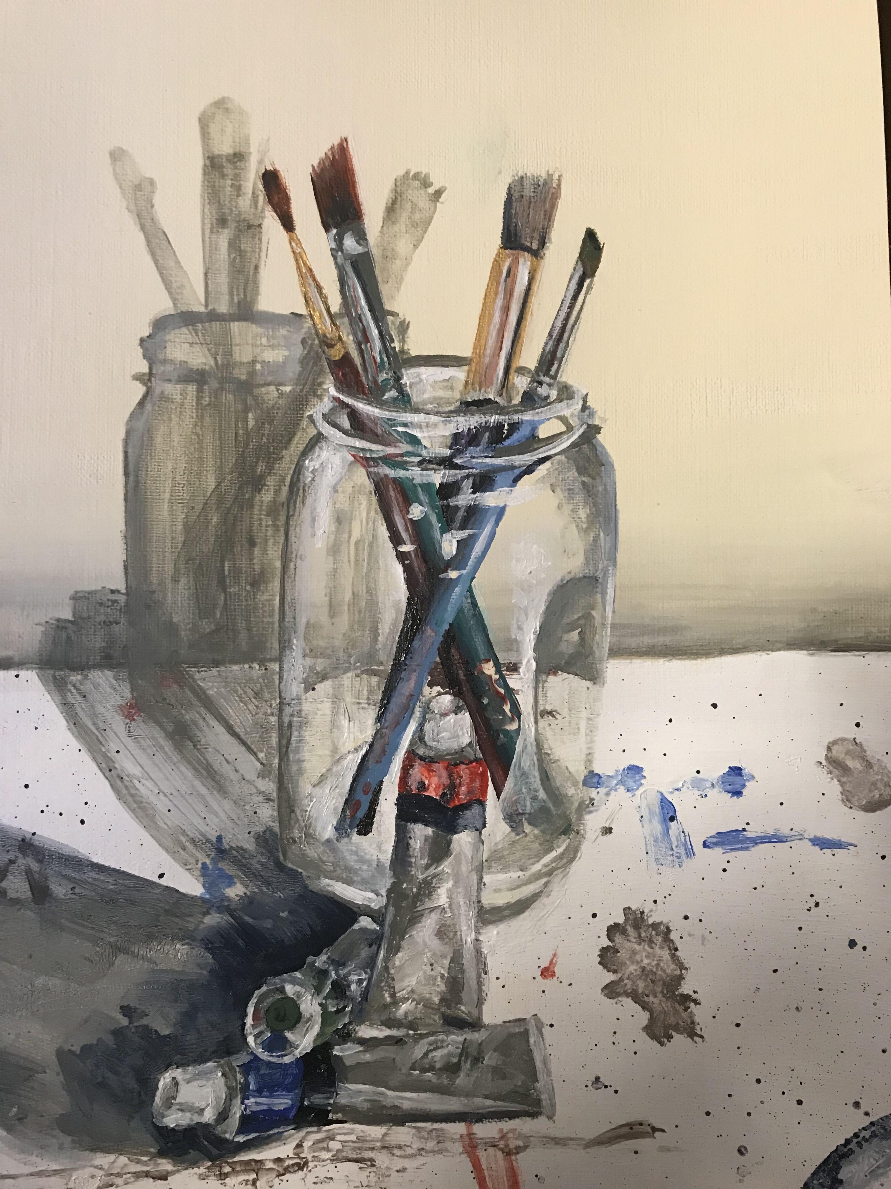 Mason Jar Still Life Realistic Painting By Allie Patten Painting Still Life Painting Realistic Paintings