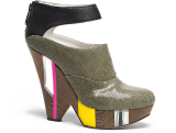 Glass Wood Wedge Ankle Strap Bootie - NAVYBOOT S/S 2012