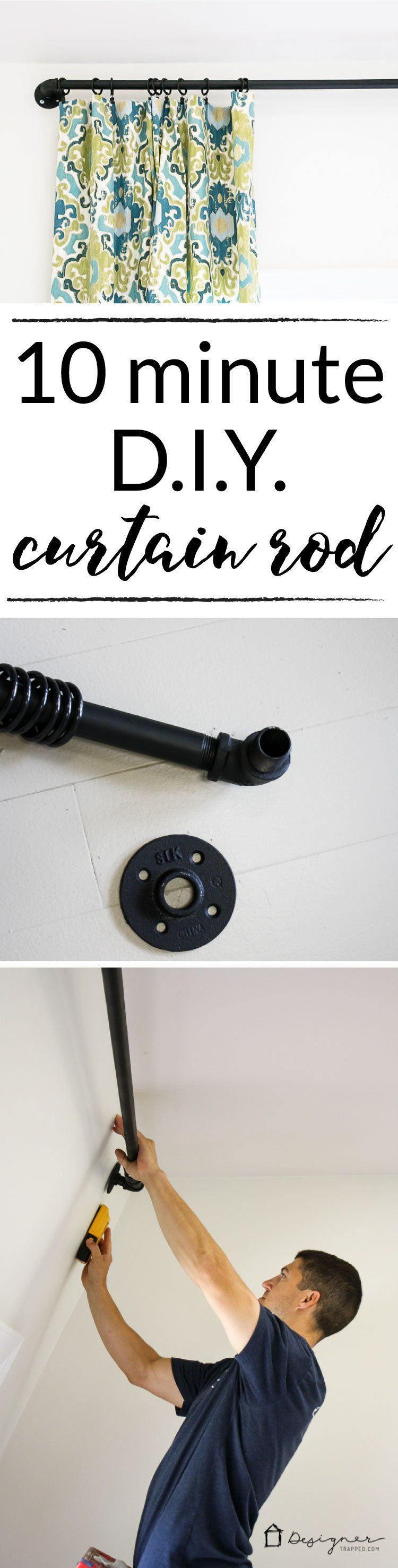 diy pipe curtain rod black out curtains window
