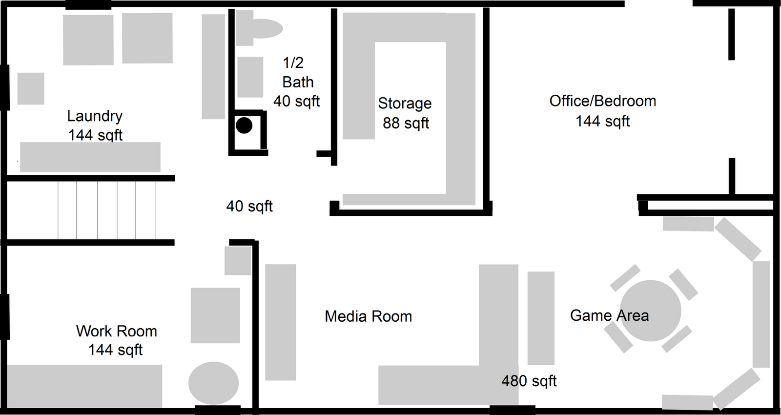 Media And Game Area In 2020 Basement Floor Plans Basement Flooring Basement Layout
