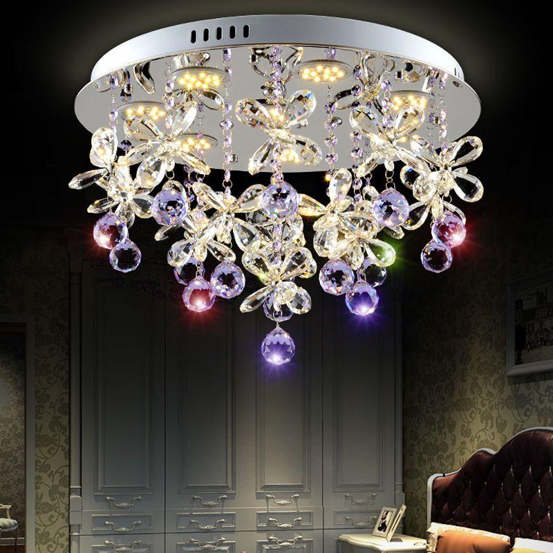 Modern Led Purple K9 Crystal Ceiling Pendant Chandelier Lamp Lighting Clear Ledlamp Home Crystal Chandelier Lighting Chandelier Lighting Pendant Ceiling Lamp