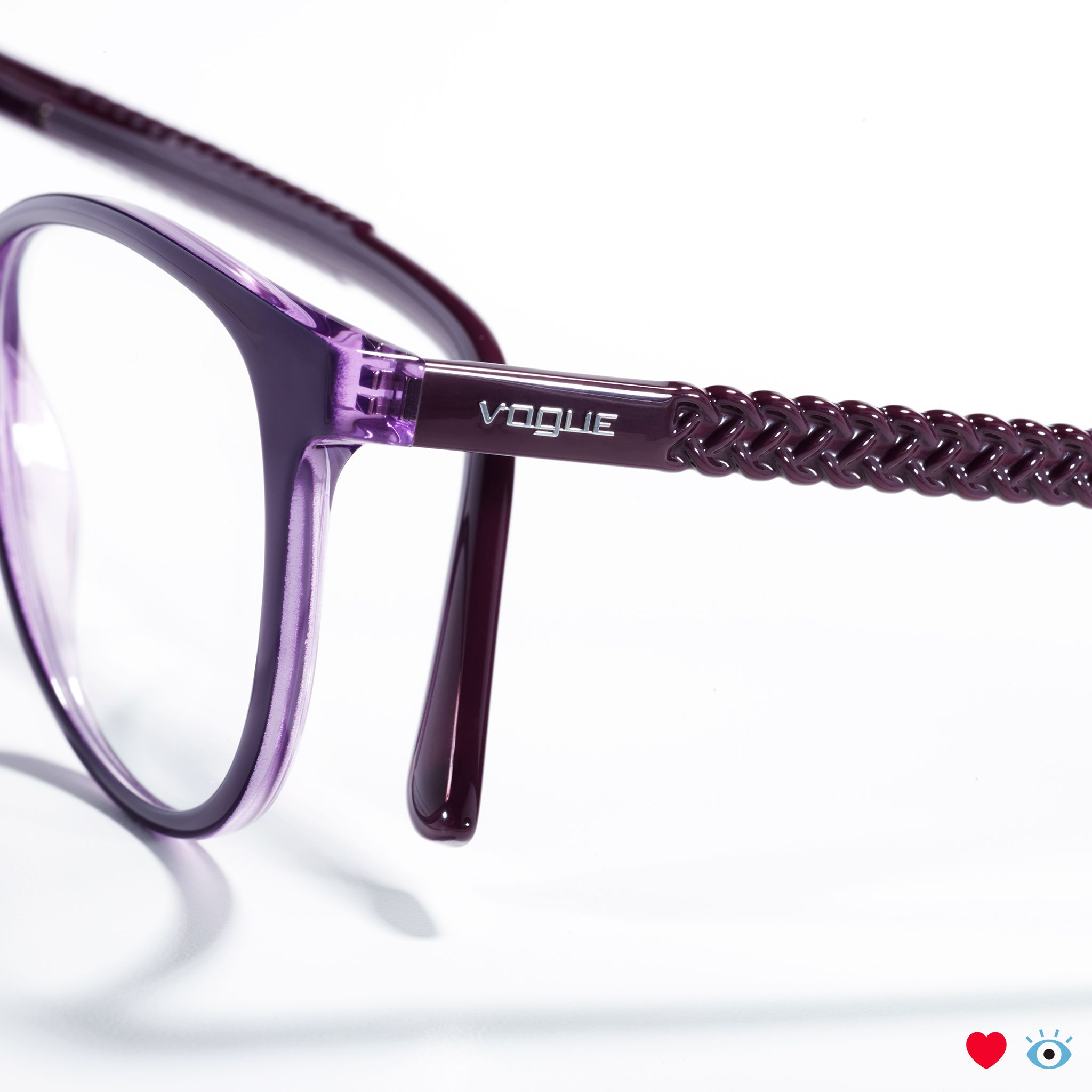 b8aca1b3c944 These Vogue frames have beautiful and unexpected details like a deep purple  color   textural braids on the sides.