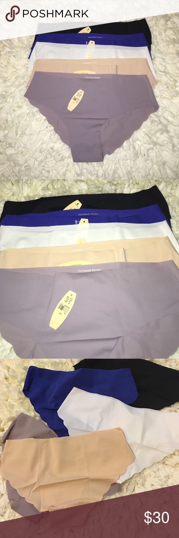 Set of 5 No Show Size Large Panties Brand new with tags, Victoria Secret Panties. Stretchy and super soft! Price is firm unless bundled! Colors are: plum, white, black, blue and nude Victoria's Secret Intimates & Sleepwear Panties