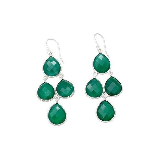 Novica Green onyx stud earrings, Contemporary Squared
