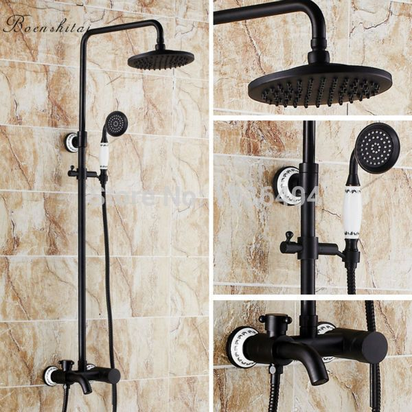 Free shipping Black Shower set Euro Style Wall Mount Shower Mixer ...
