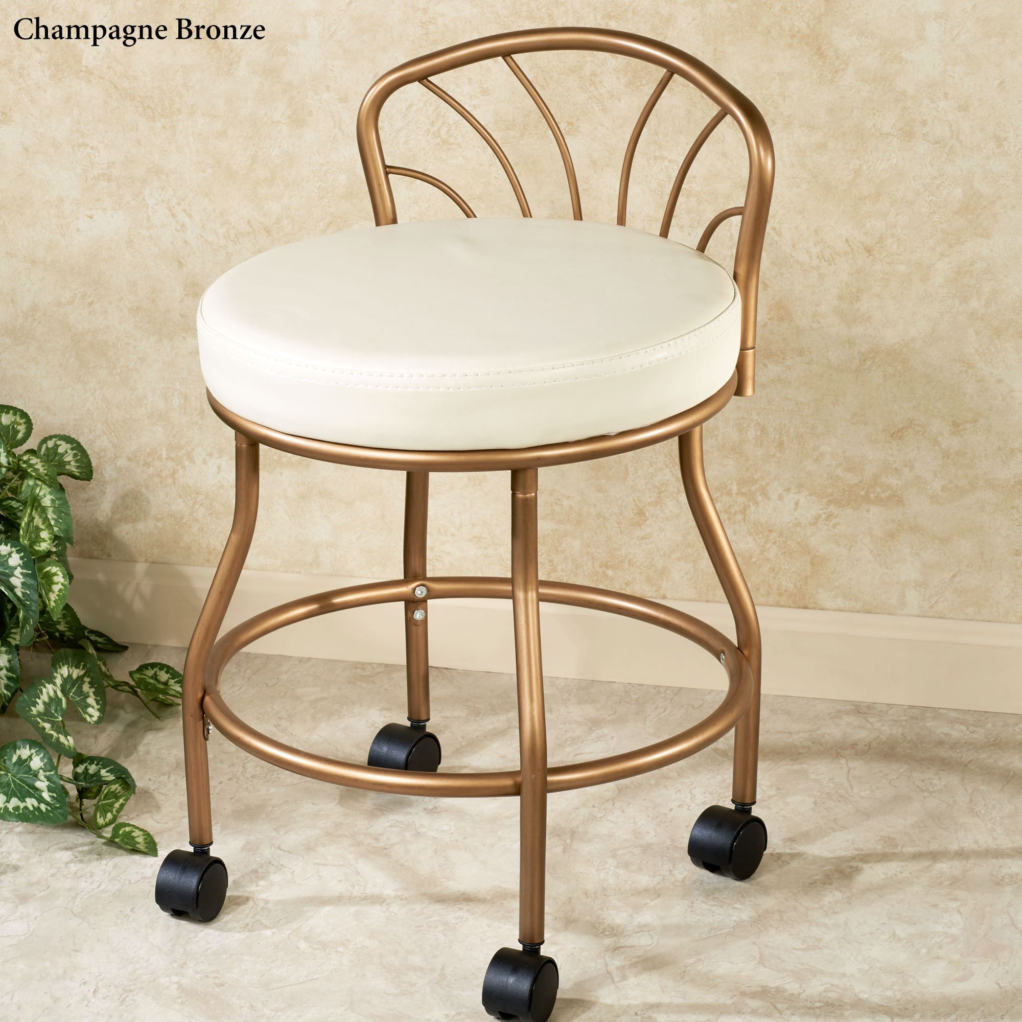 Flare Back Metallic Finish Vanity Chair with