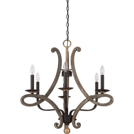 Cast an inviting glow in your entryway or den with this eye-catching chandelier, showcasing 6 lights and a faux wood finish.Product: ...