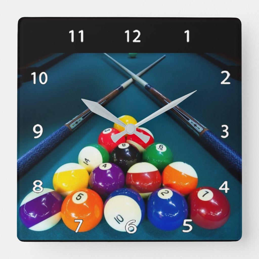 Billiards Wall Clock Zazzle Com Billiard Pool Table Clock Wall