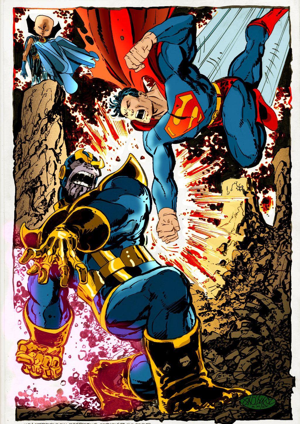 Superman vs Thanos by John Byrne | Superhero Crossovers | Marvel