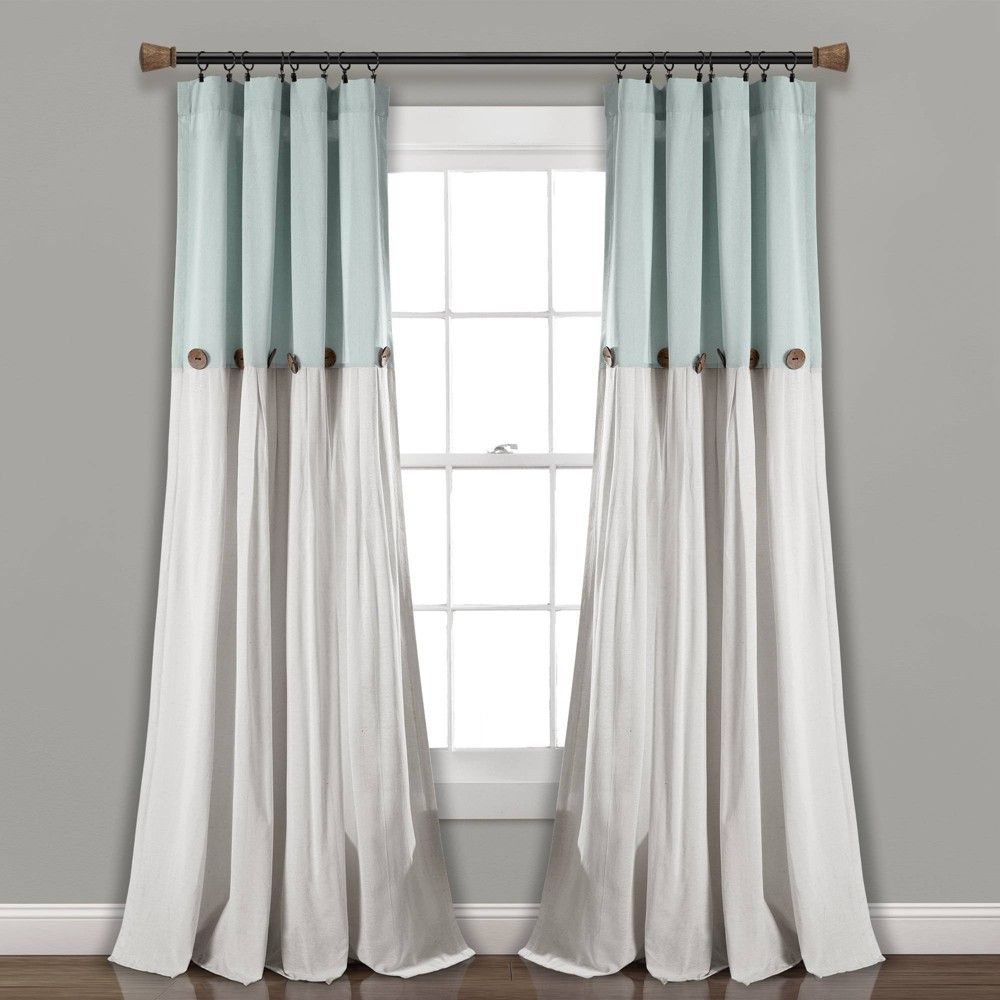 40 X95 Linen Button Single Light Filtering Window Curtain Panel Blue White Lush Decor Size 40 X95 Panel