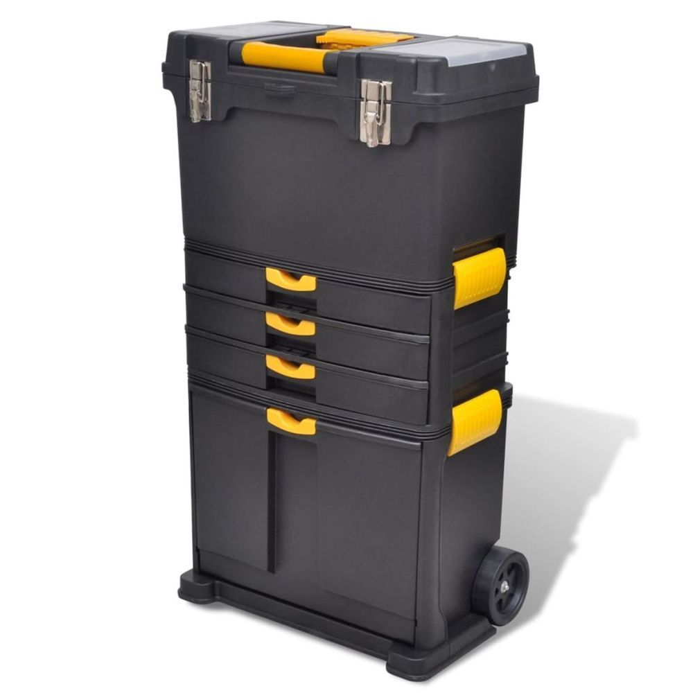 """16/"""" Strong Durable Plastic Lockable Tool Box Case DIY Hobby Storage Great Value!"""