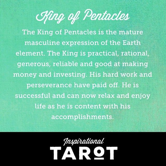 ______________________________________  Call on the Kind of Pentacles after a period of hard labor. The King is practical, rational, generous, reliable and good at making money and investing. His hard work and perseverance have paid off. Relax and relish in your good works and accomplishments. ______________________________________  #inspirational #tarot #kingofpentacles #king #pentacles #enlightening #esoteric #magical #alchemy #consciousness #metaphysical #divination #spiritual…