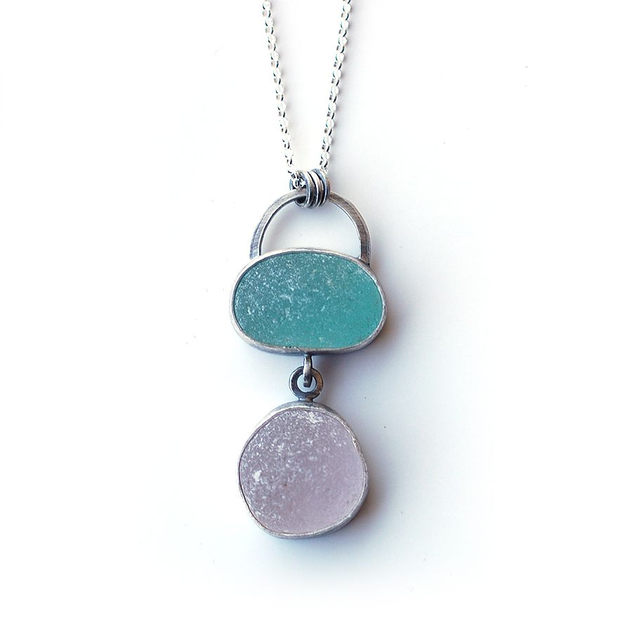 Pink and green sea glass pendant by Tania Covo