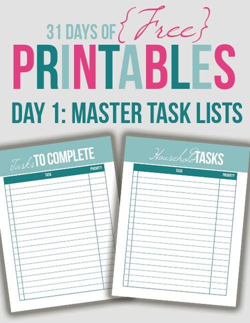 Master Task Lists Printable (Day 1) Planners \ Printables - task list