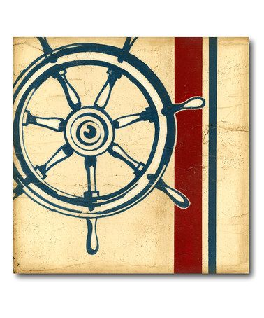 Another great find on #zulily! Americana Captain\'s Wheel Canvas Wall ...