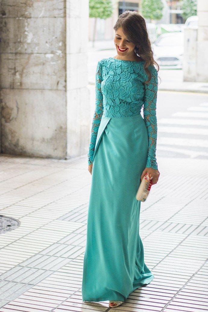 3760f7af0 Invitada boda vestido largo atelier Estela Garro