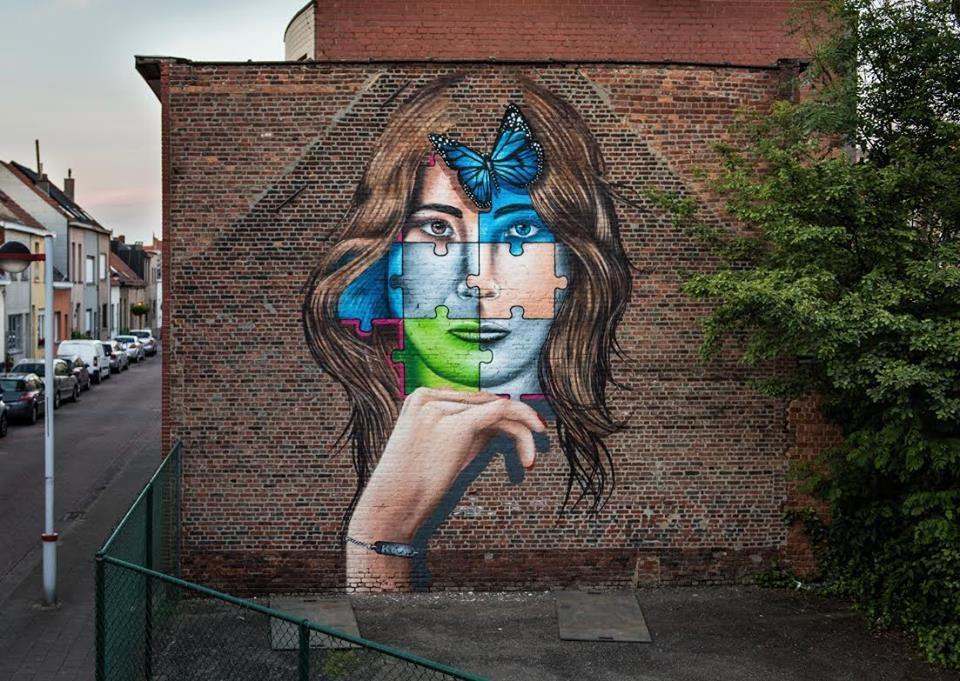 Antwerp, Belgium: new piece by Portoguese street artist KasArt.