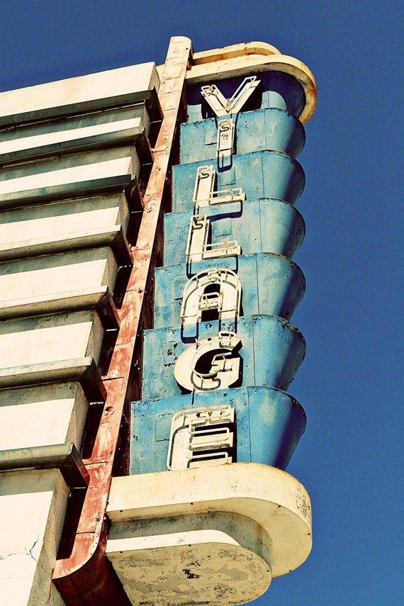 vintage village theater neon sign