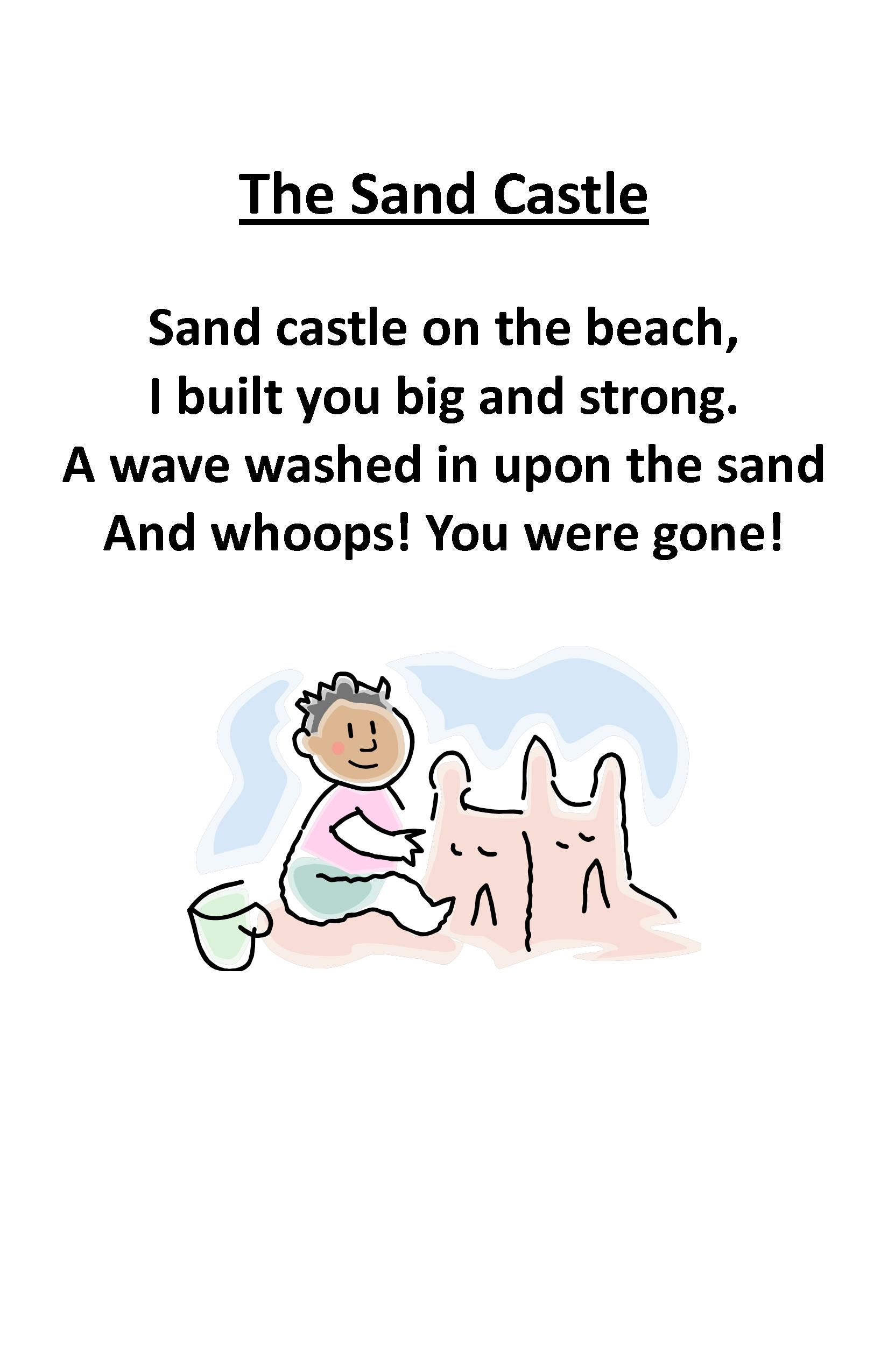 Itty Bitty Beach Babies Rhyme The Sand Castle With Images