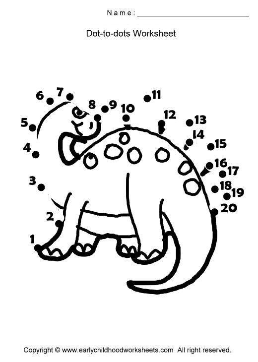 (2014-07) 20 prikker, dinosaur   Dot worksheets, Dots ...