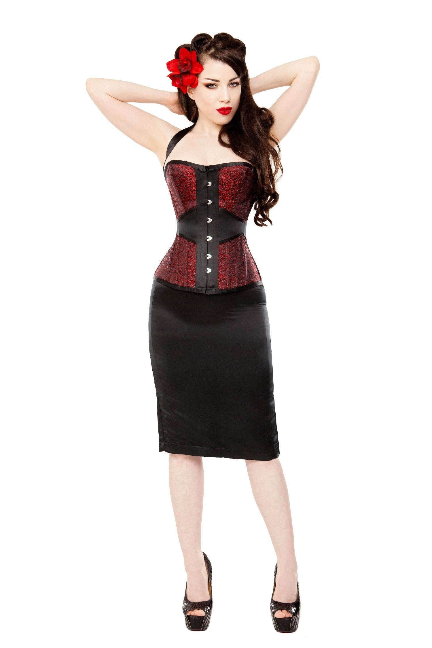 Red And Black Pencil Skirt - Dress Ala