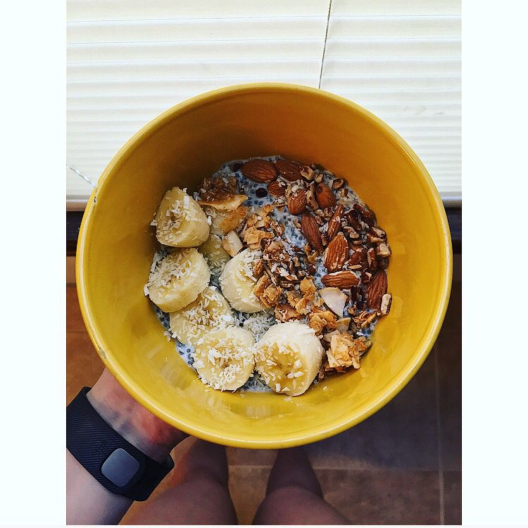 Banana coconut chia pudding  with granola, almonds pecans and a touch of vanilla extract.