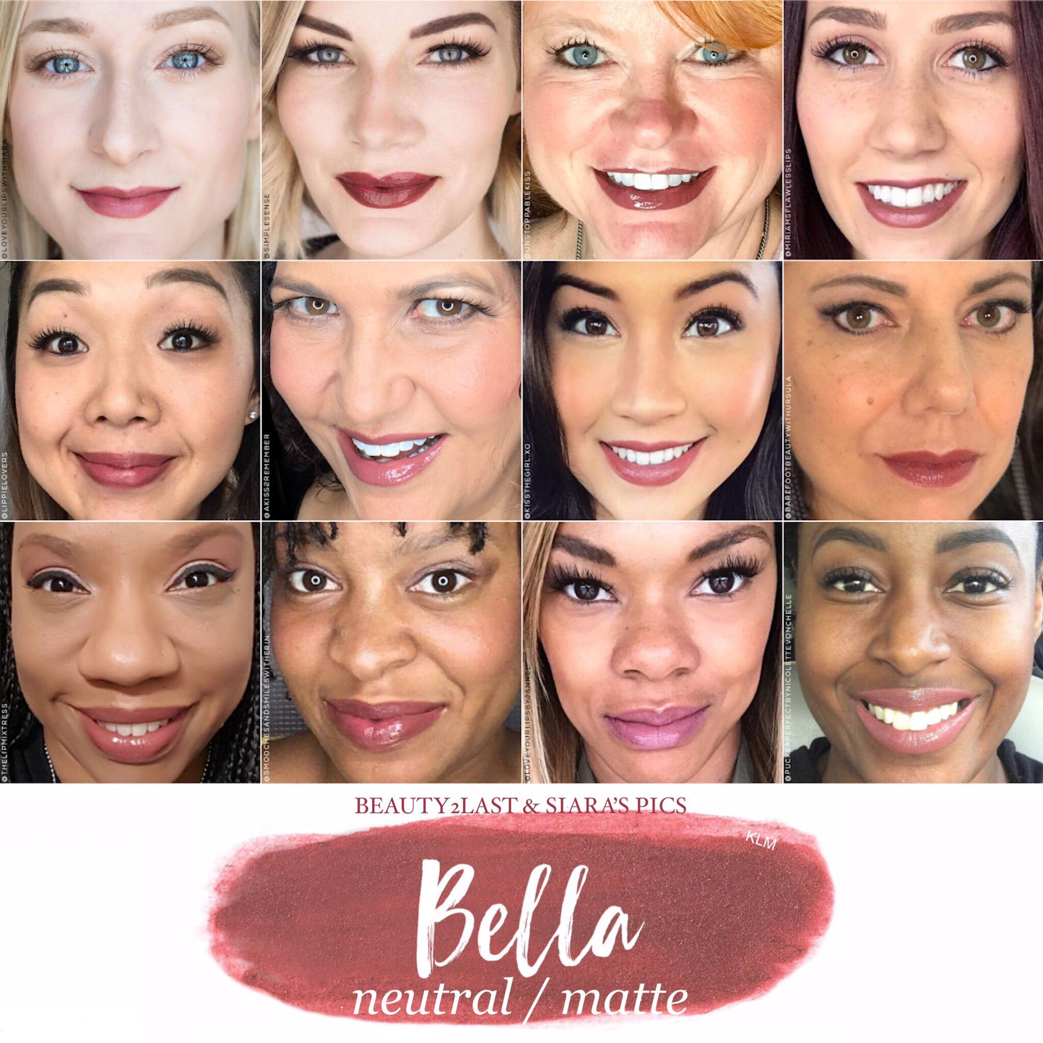 Bella LipSense selfies and swatch. Bella is a perfect neutral brown with pink undertones. LipSense is a long lasting lip color that when worn with in 3 layers and with our gloss is budge proof, smudge-proof, kiss-proof and will last 4-18 hours