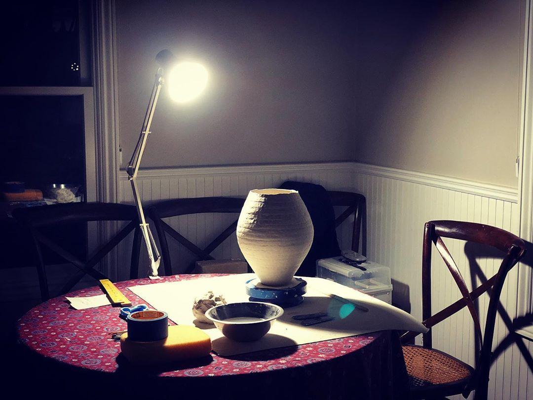 More coiling. Lock down day 14. . . . #ceramics #ceramic #ceramica #keramik #clay #pottery #porcelain #ceramiclife #ceramiclicious #handbuiltpottery #handbuiltceramics #coiling #instaart #art #handmade #lockdown #sonoma #california