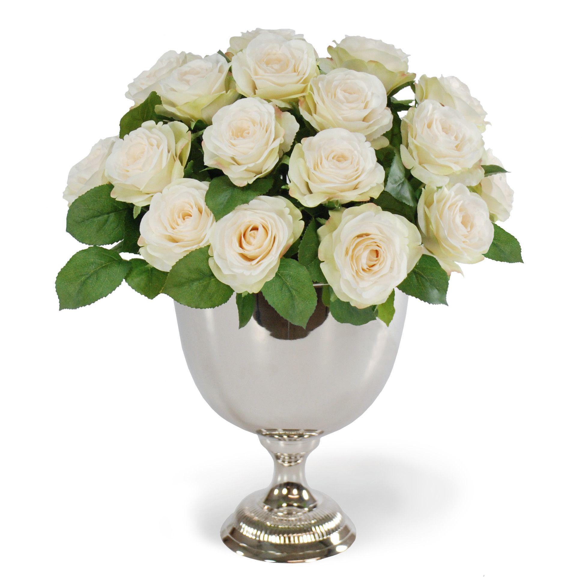 Rose Bouquet In Silver Metal Urn