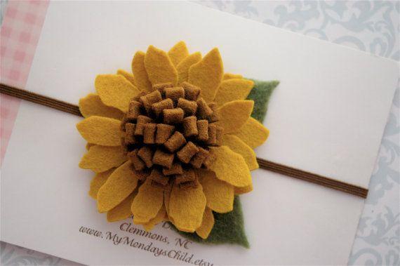 Felt Flower Headband for Fall in Golden Sunflower - Newborn Headband, Baby Headband, Toddler Headband, Girls Headband, Felt Headband #feltflowerheadbands