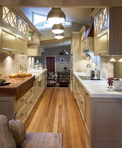 Narrow Galley Kitchen Designs: Like The Wooden Chop Block.