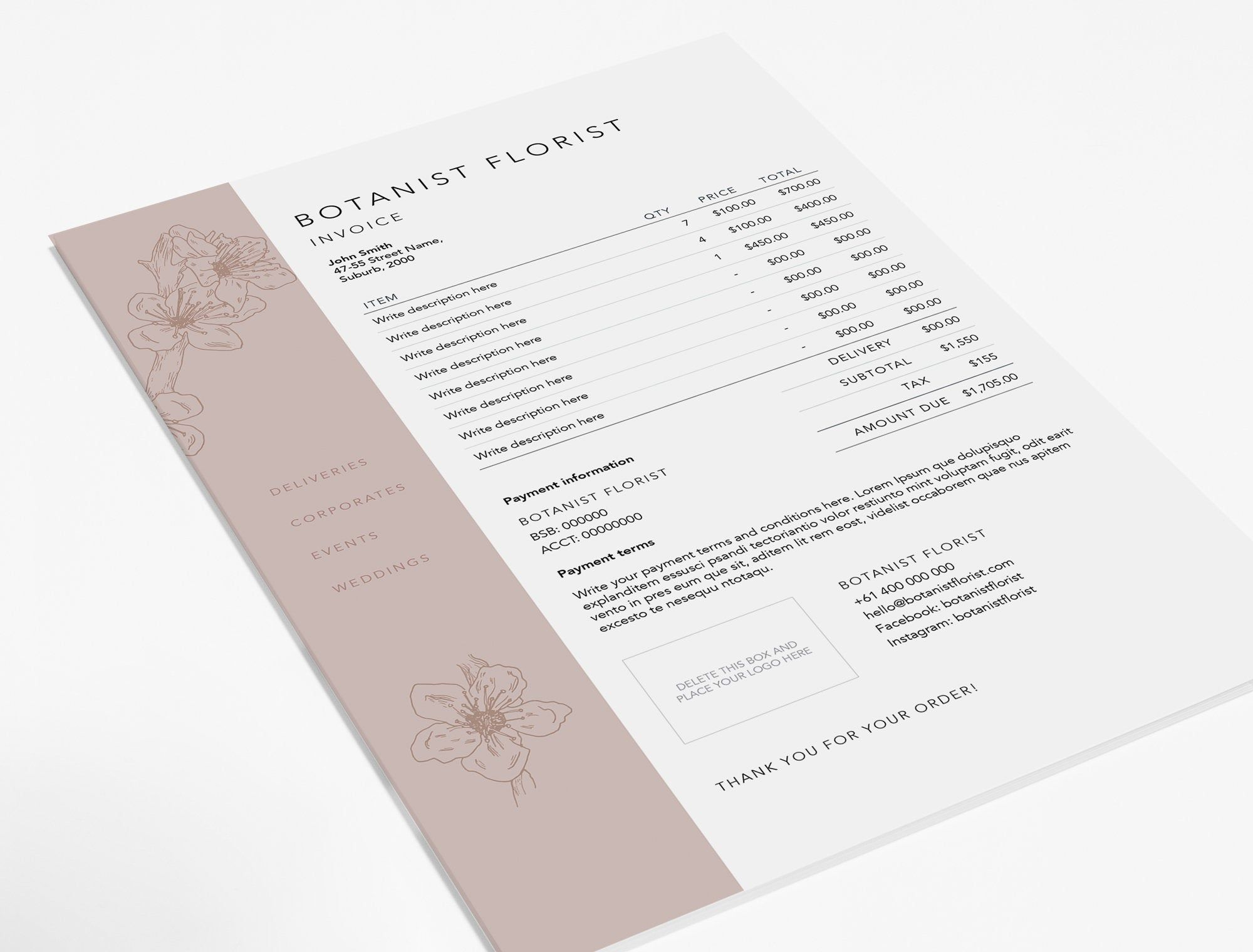 Florist Invoice Template Invoice Design Receipt Ms Word Invoice Template Photoshop Invoice Template Printable Invoice Invoice Design Invoice Template Photography Invoice Template