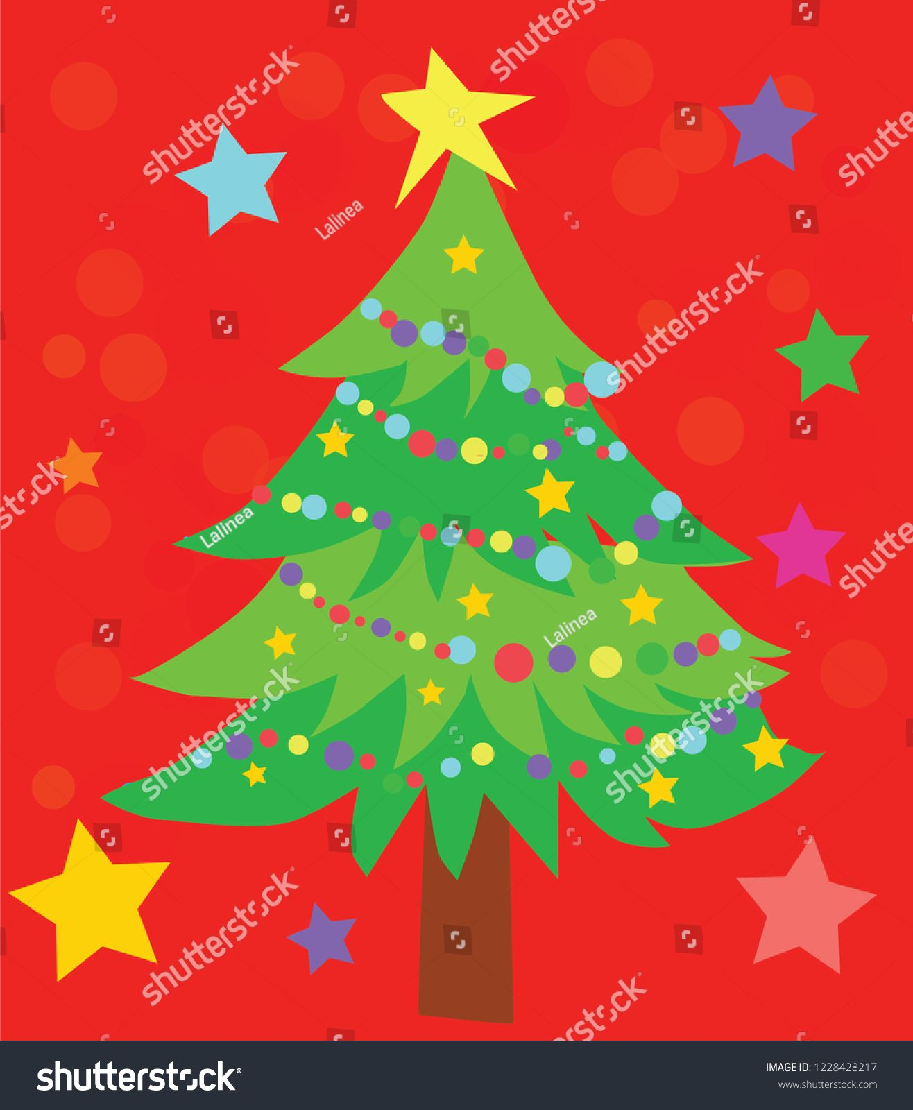 Vector illustration of cartoon christmas tree red background