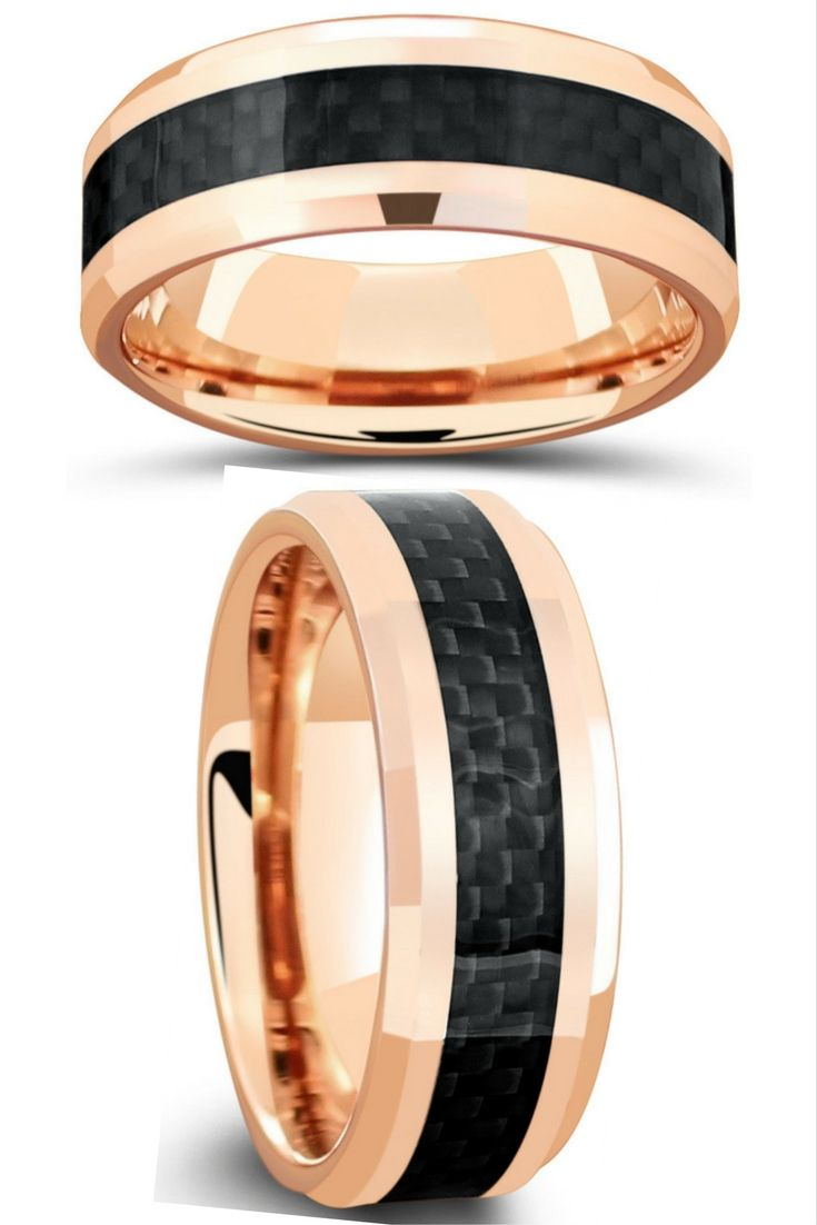 Mens 18k Rose Gold Tungsten Wedding Band With Genuine Black Carbon Fiber Running Through The Center Perfect: Carbon Fiber Wedding Band Rose At Reisefeber.org