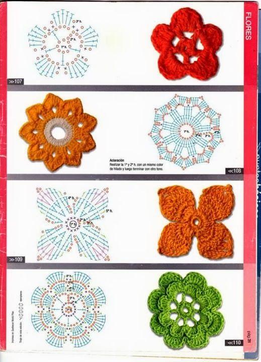 Tejido Facil: Patrón: Más patrones de flores :) | Labores ...