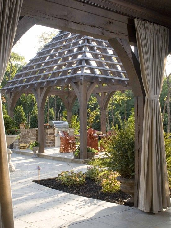 Outdoor Kitchen Gazebo Design Ideas Pictures Remodel And Decor Pergola Backyard Canopy Outdoor Curtains