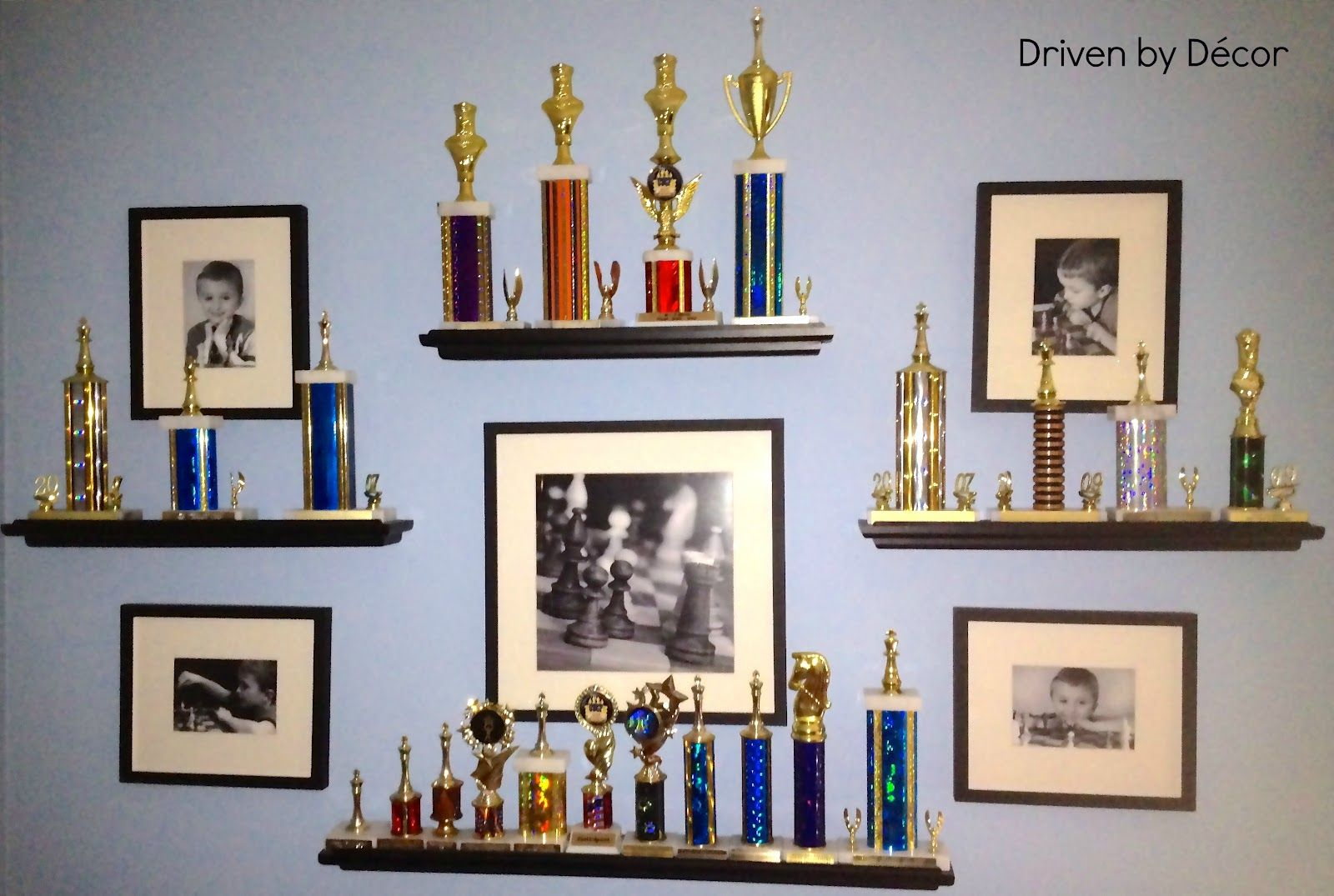 Trophy display idea for a kid who has trophies trophies for Bookshelf display ideas
