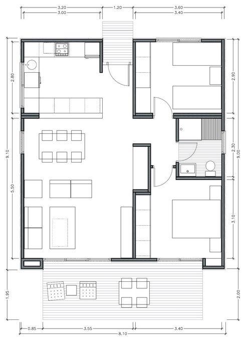 Plano de casa moderna de 75m2 con 2 dormitorios plantas for Casa minimalista 2 dormitorios