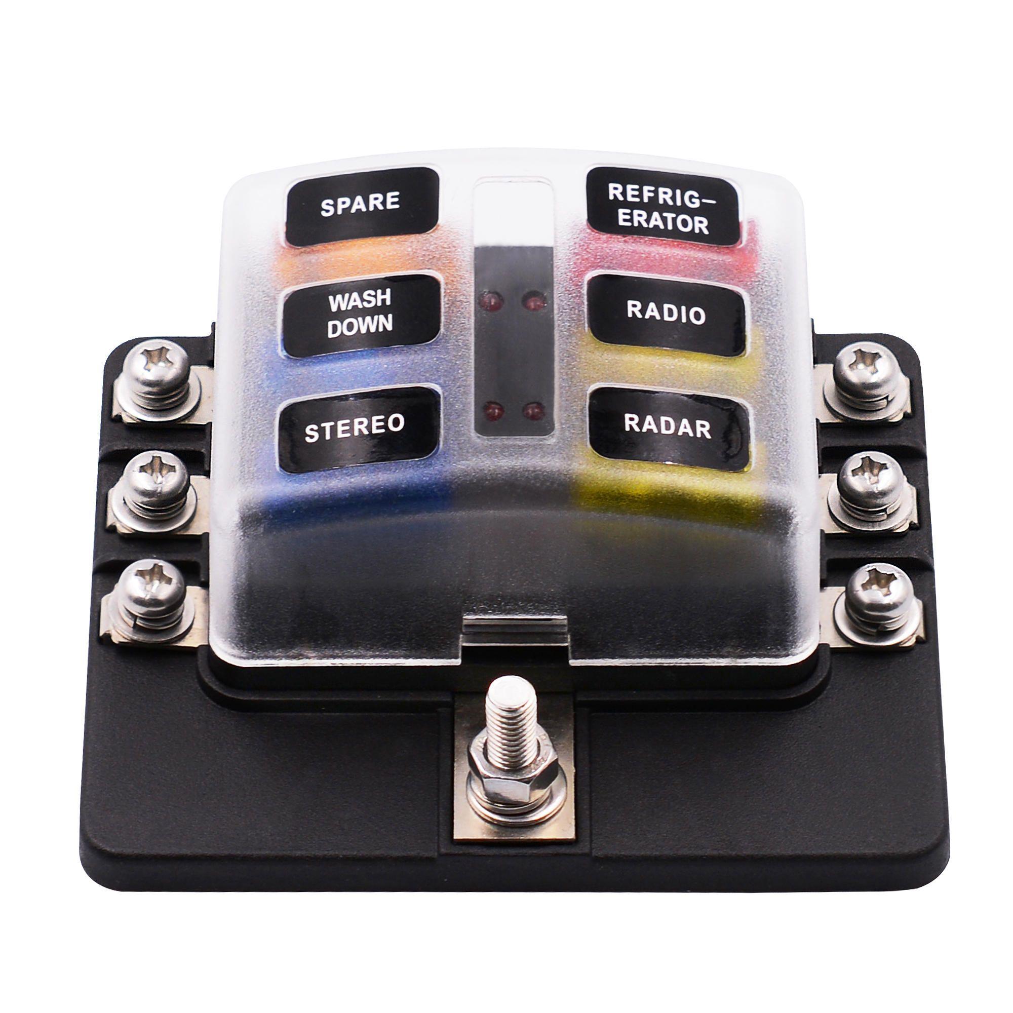 imars 6 way and 12 fuse box 12v 32v circuit standard blade block holder kit car caravan [ 2000 x 2000 Pixel ]