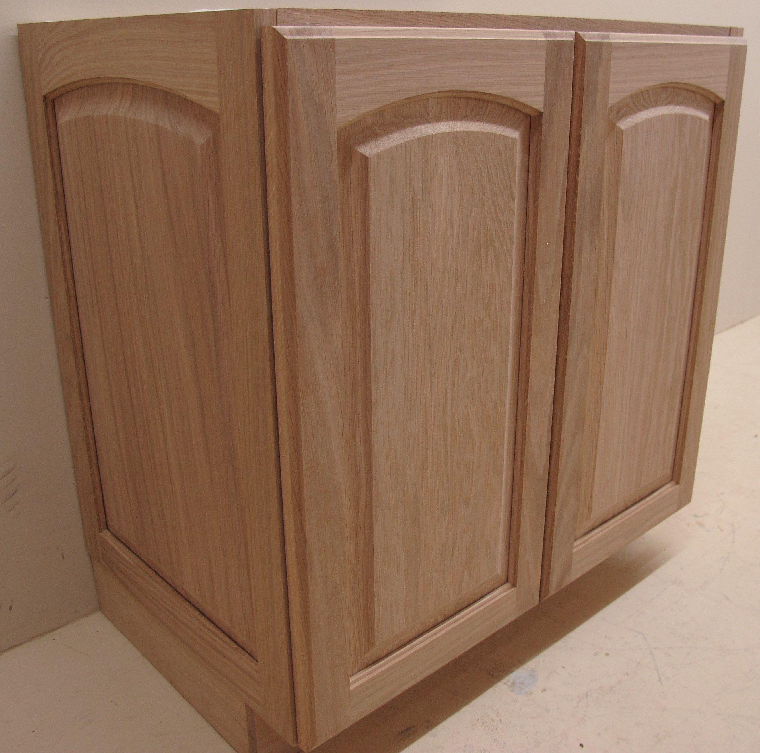 Natural Varnish Arched Raised Panel Vanity   Small vanity ...