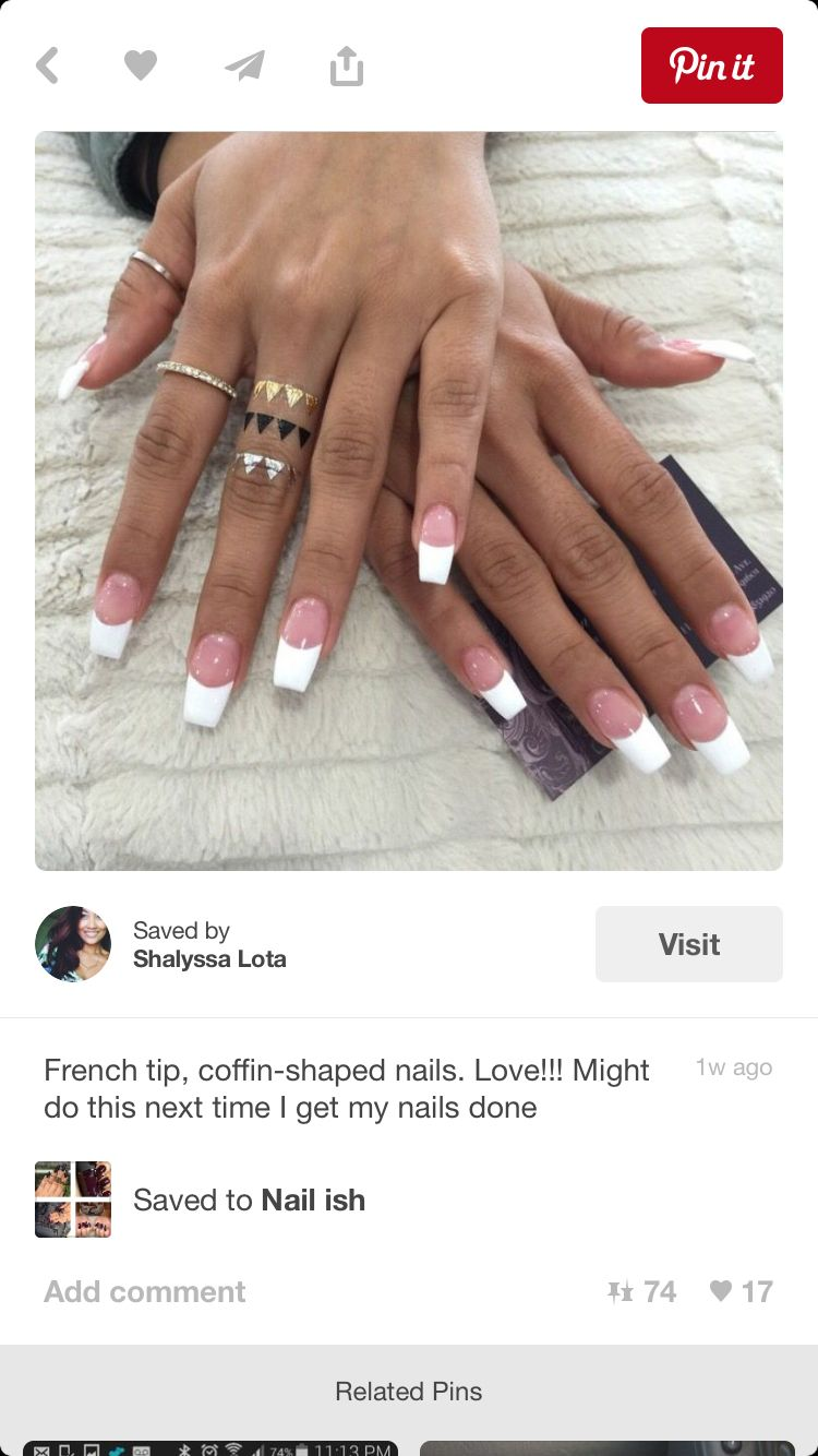 Coffin Pink White Pink White Nails White Acrylic Nails White Tip Nails