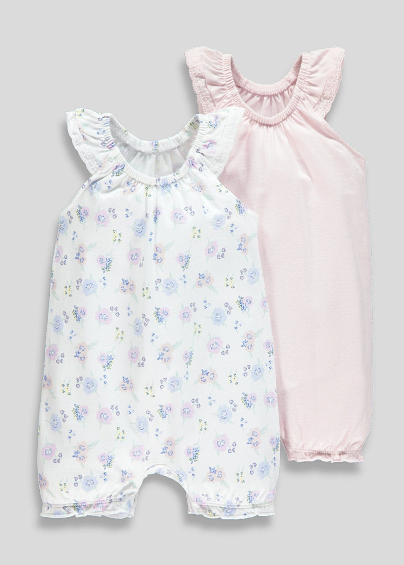 f8a03a30a5a Girls 2 Pack Shortie Rompers (Newborn-18mths) – Pink