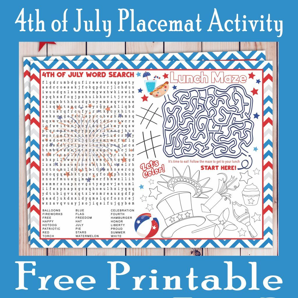 4th Of July Activity Placemat Free Printable