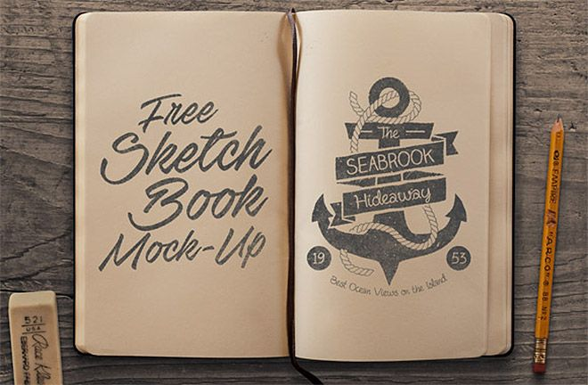 Free psd templates to mockup your sketches drawings mockup